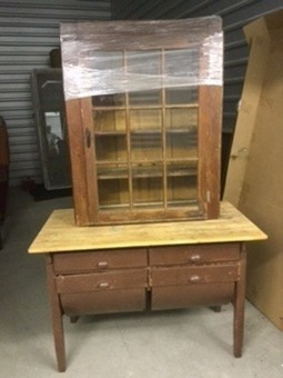 Antique flour table and glass paned cabinet..2 pieces
