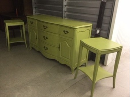 Antiqued large dresser and 2 night tables